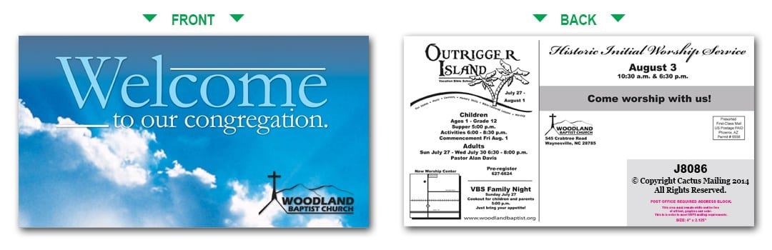 church postcard templates
