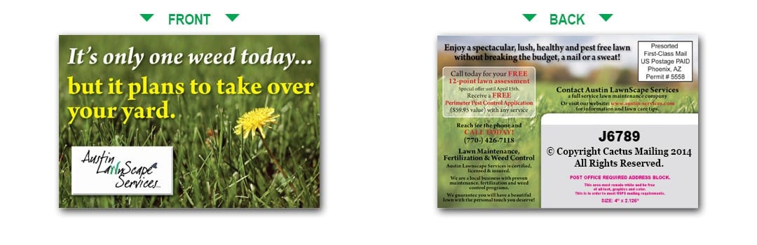 lawn care postcards