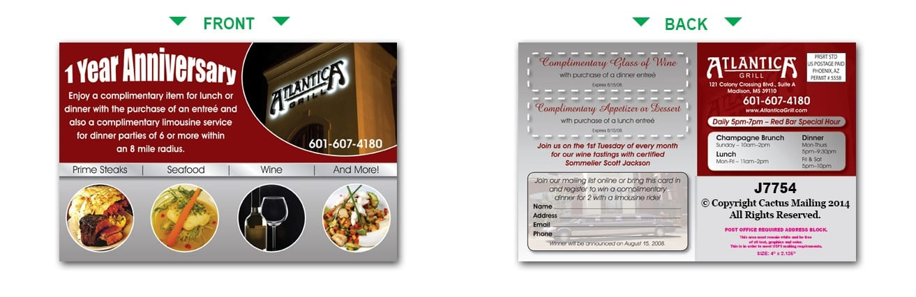 restaurant postcards restaurant marketing with direct mail