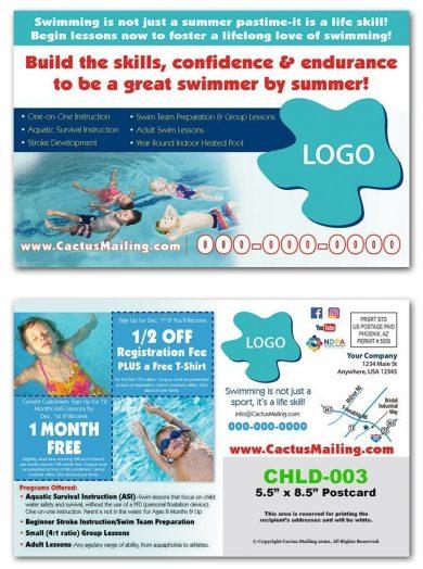 swim school postcards