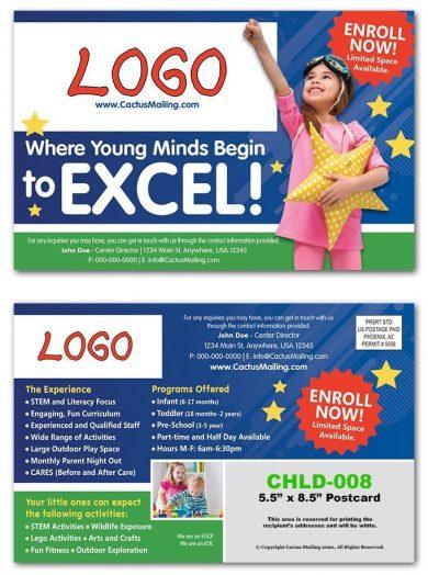 childcare postcards