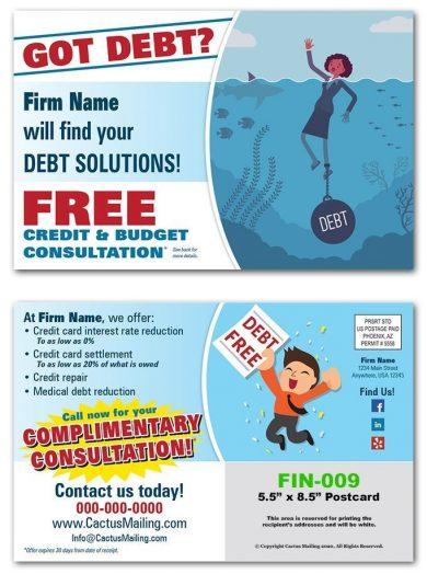 Debt Solutions Postcards