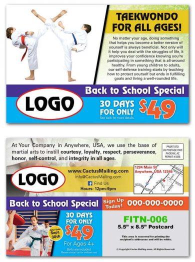 taekwondo postcards