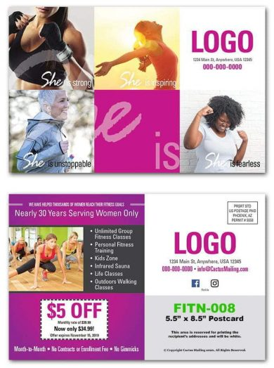 womens gym postcards