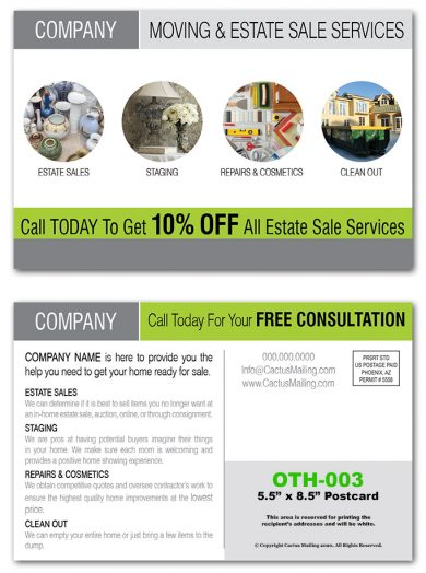 Estate Sales Direct Mail Postcards