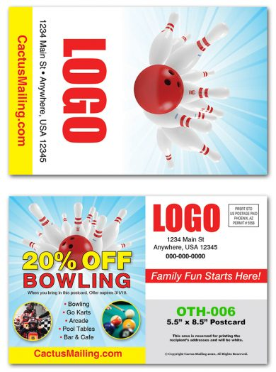 Bowling Alley Direct Mail Postcards