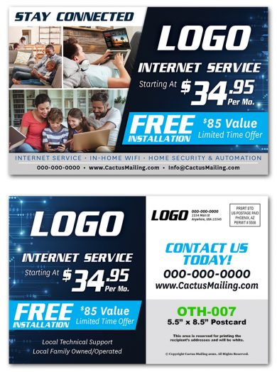 Internet Service Direct Mail Postcards