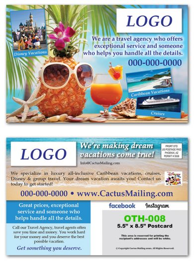 Travel Agent Direct Mail Postcards
