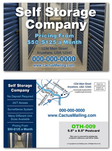 Self Storage Direct Mail Postcards