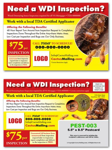 Pest Inspection Postcards