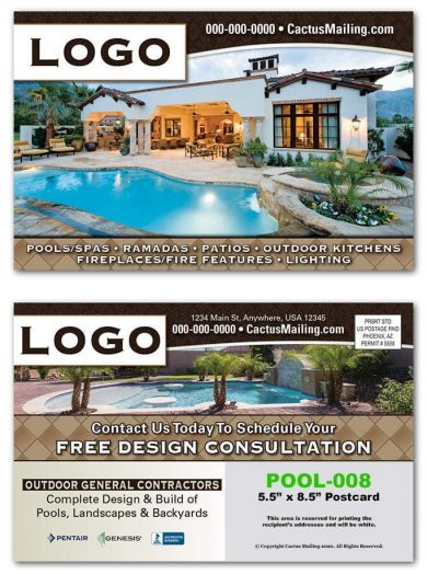 pool construction postcards