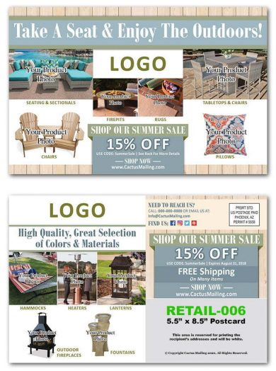 Outdoor Furniture Retail Postcards